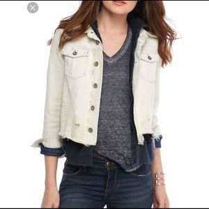 Free People Double Weave Denim Jacket Distressed M